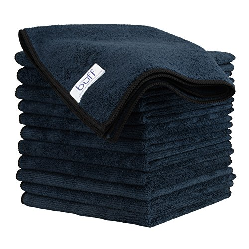 Buff Microfiber Cleaning Cloth | Black (12 Pack) | Size 16