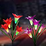 Cheap New Solar Lights Outdoor – Solar Garden Stake Lights with Wider Solar Panel, Multi-Color Changing LED Lily Flower Lights for Patio,Backyard, Garden Decoration (2 Pack,Red and Purple)