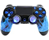 """Blue Fire"" Ps4 PRO Custom UN-MODDED Controller Exclusive Unique Design with Illuminating Thumbsticks CUH-ZCT2U For Sale"