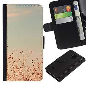 For Samsung Galaxy S5 Mini(Not S5), SM-G800 Case , Summer Sunset Teal Fields Sky Warm - la tarjeta de Crédito Slots PU Funda de cuero Monedero caso cubierta de piel
