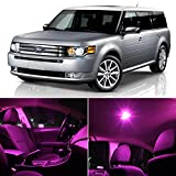 LEDpartsNow Ford Flex 2009 & Up Pink Premium LED Interior Lights Package Kit (8 Pieces)