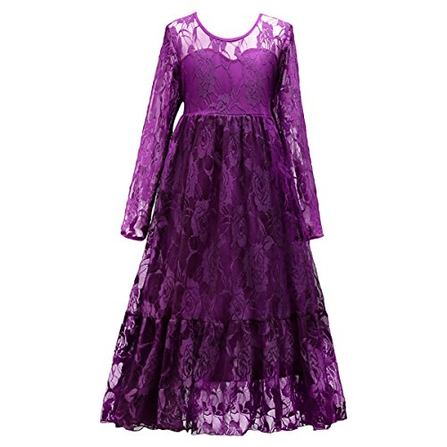 (Pageant Wedding Flower Girl Dress Crossed Back Bow Feather Sash Fluffy Maxi GownPurple 4)
