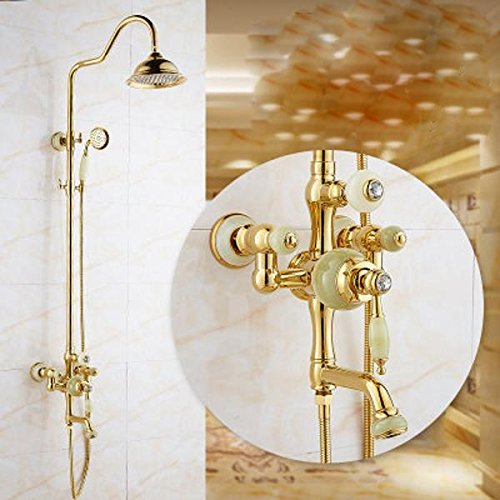 (LINA@ Copper gilt jade shower set adjustable shower faucet , 1-YS)