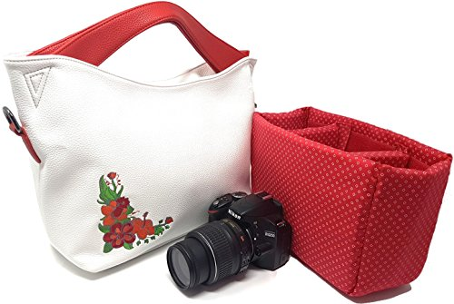 """Embroidered Insert - Embroidered Camera Tote Bag; Ladies Handbag for Nikon, Canon, Sony DSLR; Removable Padded Insert; Party, Office, Outdoor Bag; Christmas Gift White,SIZE: 12"""" x 10"""" x 5""""; Fits Standard Size DSLR"""