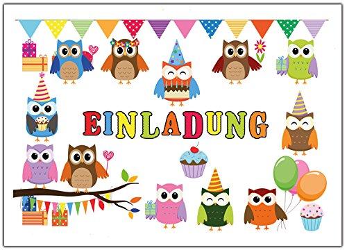 Eulen Einladungskarten Zum Kindergeburtstag Einladung Geburtstag Kinder Set  Eule Jungen Mädchen 12 Stück Luftballons Party Lustig Witzig: Amazon.de: ...