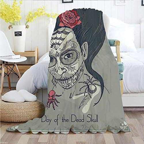 Ylljy00 Day of The Dead Decor,Throw Blankets,Flannel Plush Velvety Super Soft Cozy Warm with/Dia de Los Muertos Skull Girl with Roses Image Print/Printed Pattern(60