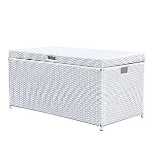 Jeco Inc. Outdoor 70 Gallon Wicker Deck Storage Box Color: White