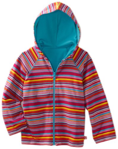 Zutano Little Girls' Multi-Stripe Reversible Zip Hoodie