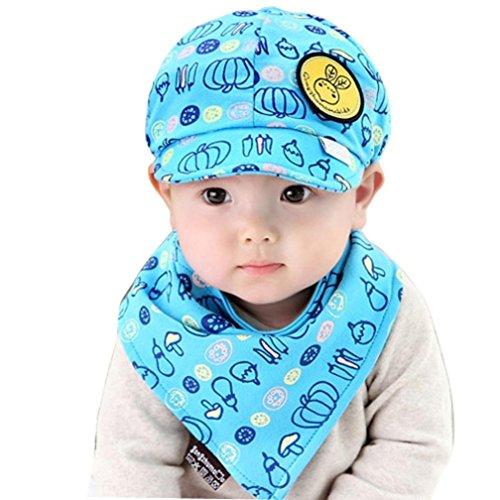 [Usstore Kids Baby Cotton Baseball Hat Headwear Sun Visor Cap+Bips (Blue)] (Red Coat Army Costume)