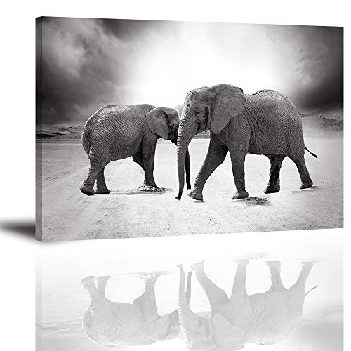 (Elephant Wall Art for Living Room, PIY Modern Black and White Animals Decor Stretched with Frame, Two Elephants Walking Canvas Prints (1