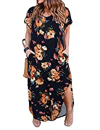 Nemidor Women's Casual Loose Pocket Long Dress Short Sleeve Plus Size Slit Maxi Dress