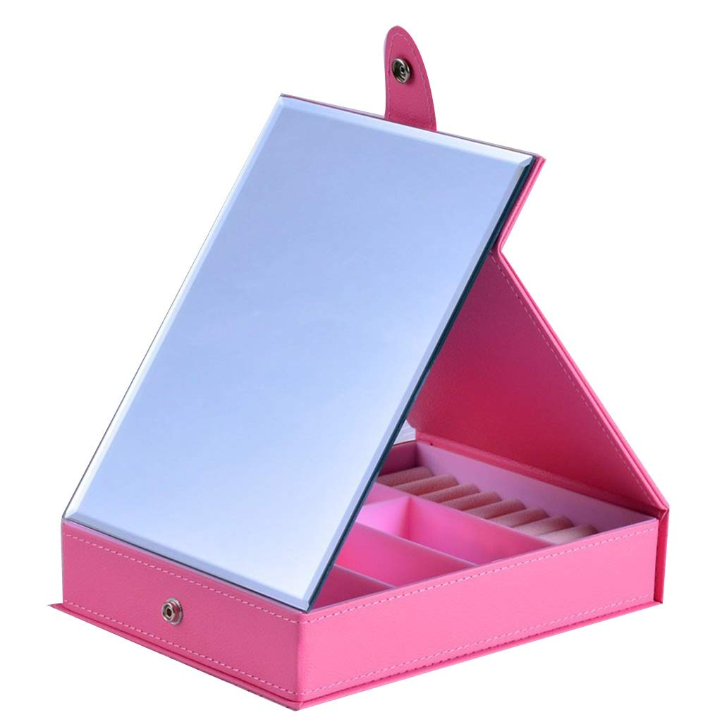 Sdvh Makeup Mirror with Travel, Storage Box Desktop Folding Portable Multifunctional Freestanding Compact Locking Suction (Color : Pink)
