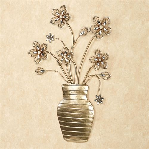 - Touch of Class Flower Bouquet Vase Metal Wall Decor Art Sculpture Display Champagne Gold