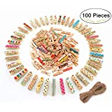 Magnolora 100 Pieces Mini Colored Natural Wooden Clothespins Photo Paper Peg Pin Craft Clips,Home Decoration Photo Clips with 66 Feet Jute Twine