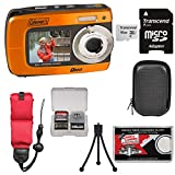 Coleman Duo2 2V8WP Dual Screen Shock & Waterproof Digital Camera (Orange) with 16GB Card + Case + Floating Strap + Tripod + Kit