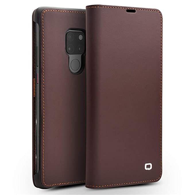 reputable site 19c40 53836 Huawei Mate 20 Case, QIALINO Luxury Slim Folio Genuine Leather Flip Cover  Mate 20 Wallet Sleeve for Haiwei Mate20 Phone with Card Slot/Cash Pocket,  ...