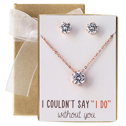 Bridesmaid Jewelry Gift Cubic Zirconia Necklace Set (Rose Gold, Set of 1)