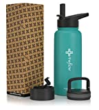 the flow Stainless Steel Water Bottle Double Walled/Vacuum Insulated - BPA/Toxin Free - Wide Mouth with Straw Lid, Carabiner Lid and Flip Lid, 32 oz.(1 Liter) (Turquoise, 32oz)