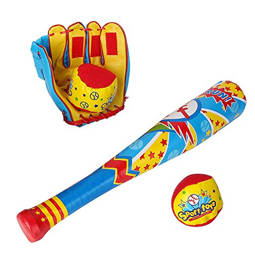 Baseball Bat Glove And Soft Ball Sports Toy Set For Kids Child Toddler Boy Gifts Sports Baseball Glove Velcro