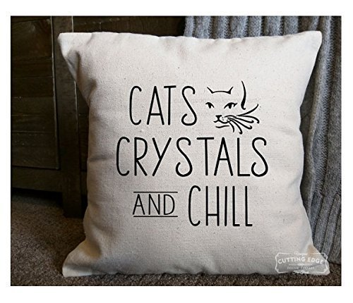Cats Crystals and Chill Pillowcases | Cotton Canvas Natural Pillow Cover | Crystals and Stones | Crystal Lover Gift | Cats and Crystals | Healing Crystals | 16x16 | Gift for Her (Dog Ikea Bed Wicker)