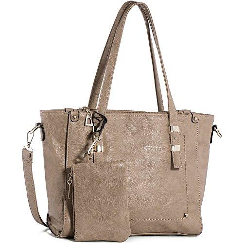 Tote Purse (WISHESGEM Women Fashion Handbags Top-Handle Shoulder Bags PU Leather Tote Bags Crossbody Purse Dark Gray)