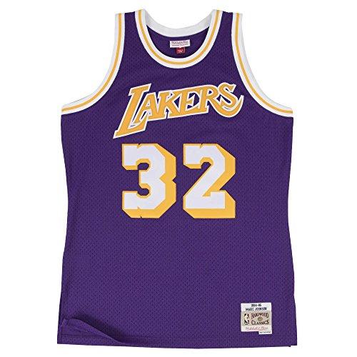 Magic Johnson La Lakers - Mitchell & Ness Magic Johnson 1984-85 Los Angeles Lakers Purple Swingman Jersey