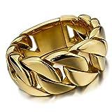 Dancing Stone Men's Large Heavy Stainless Steel Bracelet Wrist Link Biker golden (310G)