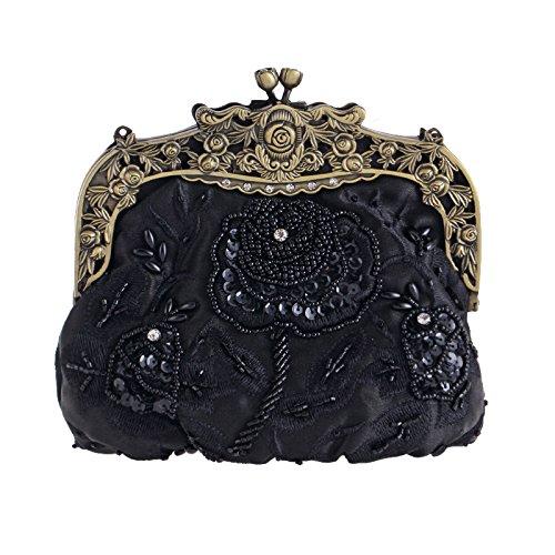De Cheongsam Perlé Black Sac Main Sac à Vintage à Pochette Soirée Brodé Banquet Main Sac Clutches Dames HE8qYgw