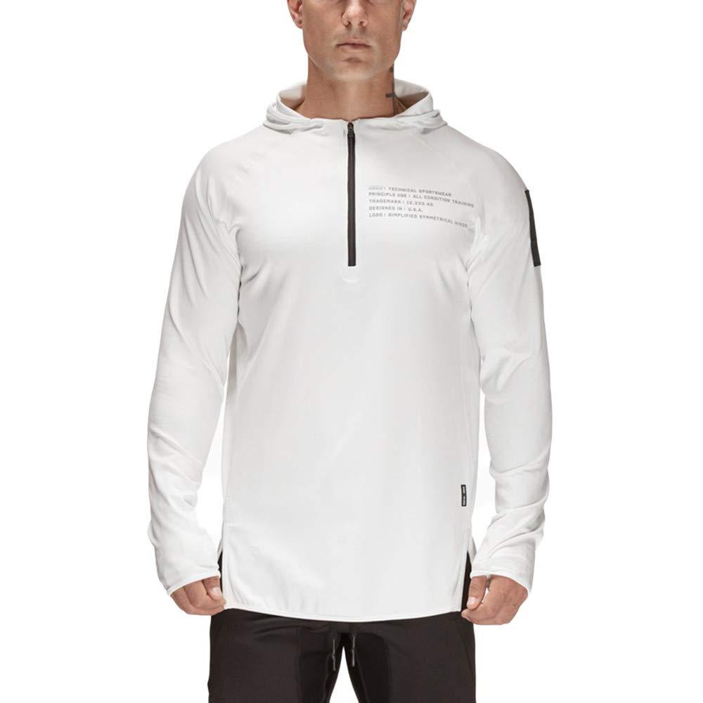 CMrtew ❤️Mens Casual Long Sleeve Hoodie,Solid Sports Raglan Sweatshirt Top Blouse (2XL, White)