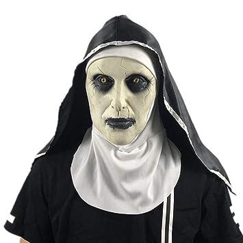 Máscara Espeluznante Jersey Y Pelo De Halloween Fiesta De Terror Cosplay Látex Aterrador Monja Horror Fantasma