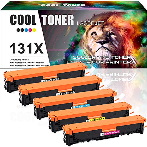 Cool Toner Compatible Toner Cartridge Replacement for HP 131X CF210X 131A CF210A CF211A CF212A CF213A for HP Laserjet Pro 200 Color M251nw Mfp M276nw M276n, Canon MF8280Cw LBP7110Cw Printer Ink-5 Pack (Hp Laserjet 200 Printer Ink)