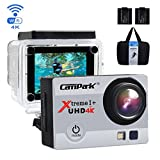 Campark ACT74 Action Camera 4K 30fps WiFi Ultra HD Waterproof Sports Action Cam,Free Mounting Accessories and 2 Rechargeable Battery for Bikes Motorbike Snorkeling(Silver)