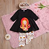3Pcs Infant Baby Girls Thanksgiving Outfit Costume Clothes Set,Toddler Girls Turkey Sleeve Tops Dress+Pants+Scarf