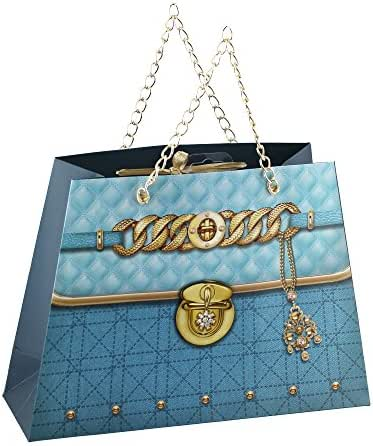 Fancy Gift Bags with Gold Handles for Party Favors Aqua Medium (Pack of 60)