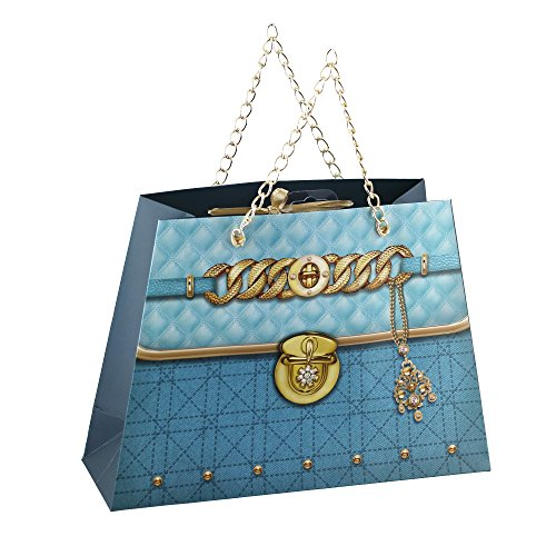 Pack Of 12 Medium Aqua Purse Paper Gift Bags With Gold Handles For Party Favors - Party Favor Gift Bags Purses