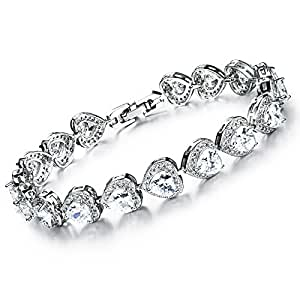 Silver Plated Diamond Heart Shape Women's Bracelet Fits Up 7.1 Inch Wrist The Perfect Gift for Mothers and Ladies 18cm