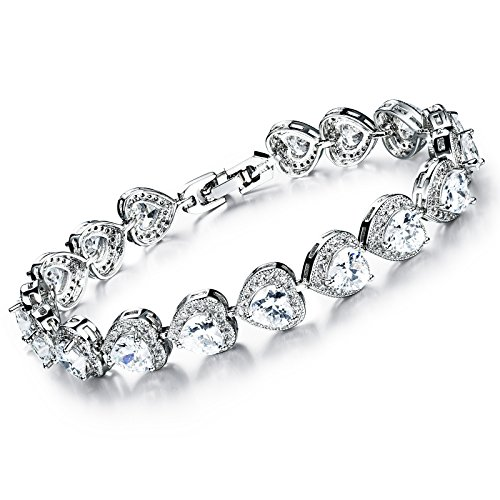 [Girl Era Gorgeous Heart Gem Stone Silver Tennis Bracelet Friendship Bracelets(white)] (Good Costumes For Two Best Friends)