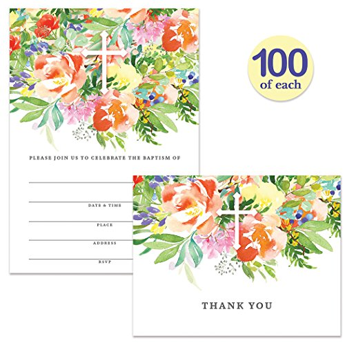 Baptism Invitations ( 100 ) & Matched Thank You Cards ( 100 ) Envelopes Included, Large Family or Church Gathering Baby Infant Christening Dedication Invites & Folded Thank You Notes Best Value Pair by Digibuddha