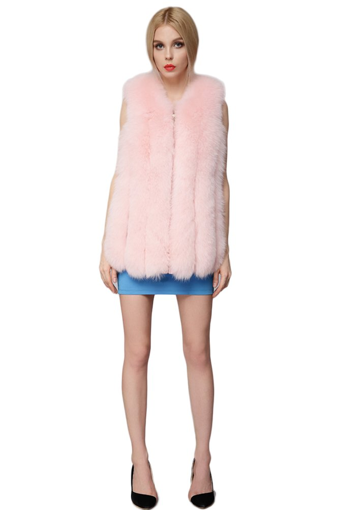 Queenshiny New Style Long Women's 100% Real Fox Fur Vest-Pink-M(8-10)