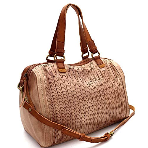 Perforated Two-Tone Rustic 2-Way Boston Satchel Purse