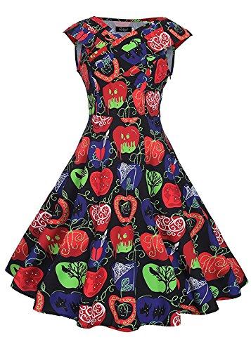 [50s Black Dress Sleeveless Short Bridesmaid Dresses Apple Print Black 2XL] (Cherry Apple Costumes)