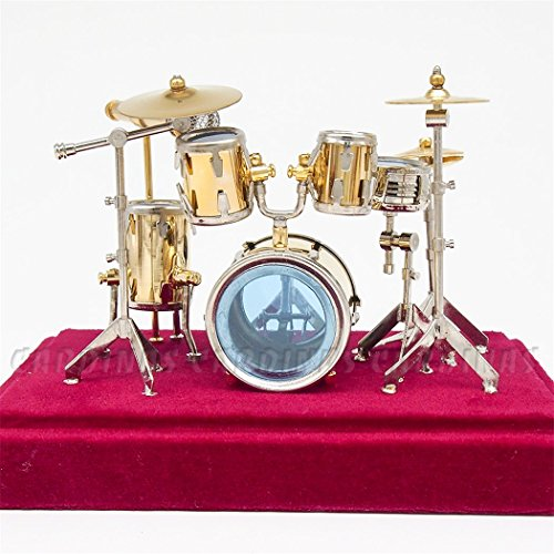Odoria 1:12 Jazz Drum Kit Set Golden Musical Instrument Miniaure Dollhouse Accessories (Musical Instrument Accessories)