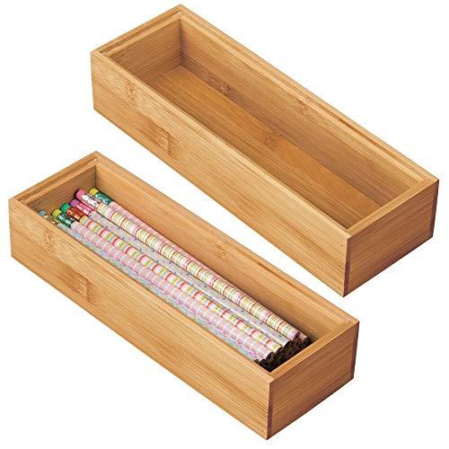 mDesign Juego de 2 Cajas organizadoras para Escritorio y cajon – Caja Rectangular de bambu – Organizador de Madera articulos de Oficina y Manualidades – Color Natural