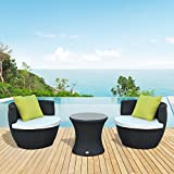 Outsunny Assembled Conservatory Patio Outdoor Garden Rattan Vase Chair Stackable Tea Furniture Set with Fire Resistant Sponge - Black (3-Piece)