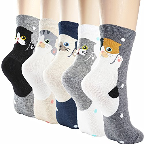 DearMy Womens Cute Design Casual Cotton Crew Socks | Good for Gift Idea| One Size Fits All (cat lover 5 Pairs)