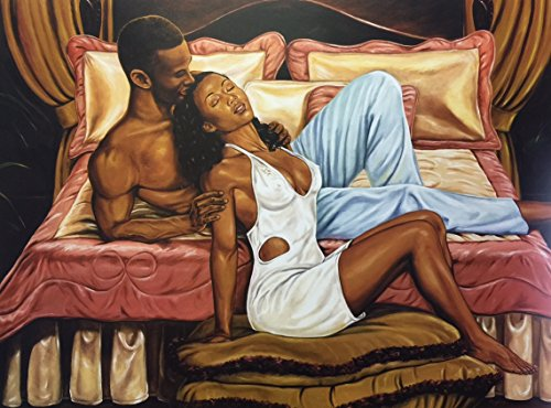 Pillow Talk (Romance/Couple) - Johnny Myers 24x32 Unframed - African American Black Art Print Wall Decor Poster #9e1