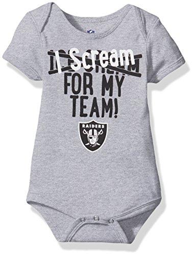 Outerstuff NFL Newborn Team Scream Short Sleeve Onesie-Athletic Grey-9 Months, Oakland ()