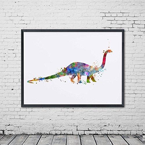 Brachiosaurus Poster - Apatosaurus Watercolor Art Print Dinosaur Poster Wall Hanging Brachiosaurus Art Wall Decor Painting Art Gift Painting No Frame