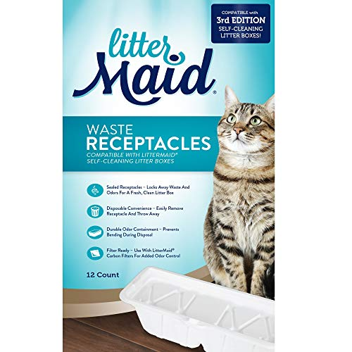 LitterMaid 3rd Edition Waste Receptacles for Cats, Count of 12, Off-White