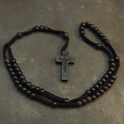 Handcrafted Wood Nazareth Catholic Cord Rosary Beads Jesus Imprint Crucifix by Bethlehem Gifts TM (Black) (Solid Rosary Cross)